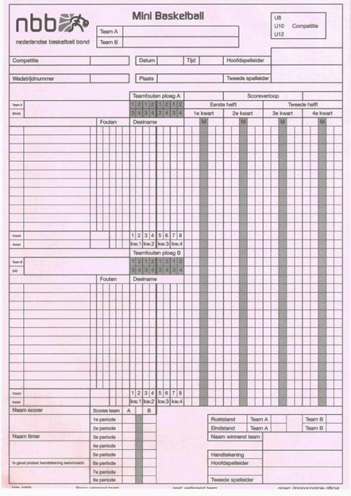 International Hockey Federation Score Sheet